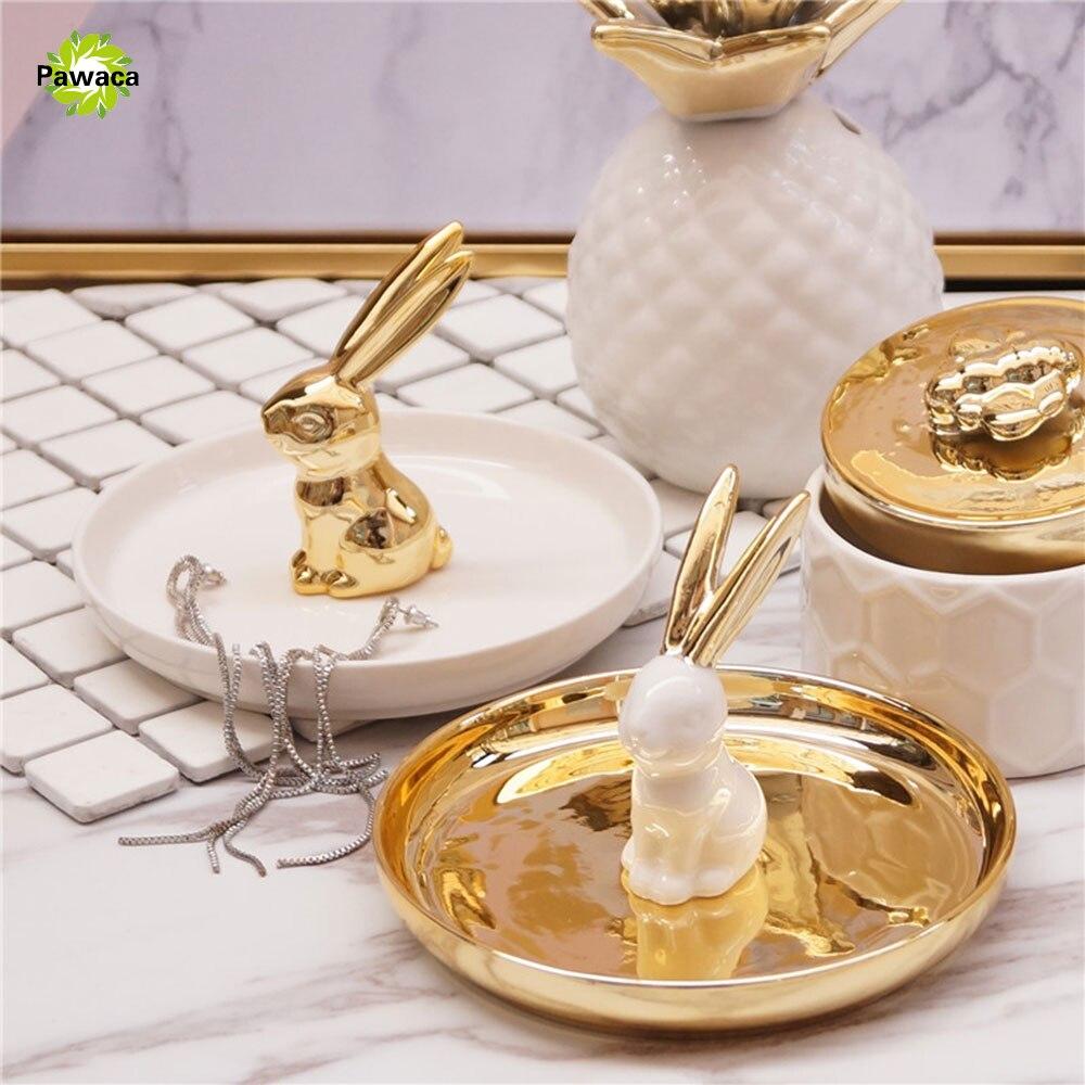 Nordic Stil Keramik Kaninchen Form Schmuck Ablage Gold Weisse Farbe