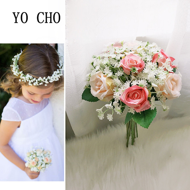 Yo Cho Babysbreath Party Bridesmaid Bouquet Rose Greenery Vintage