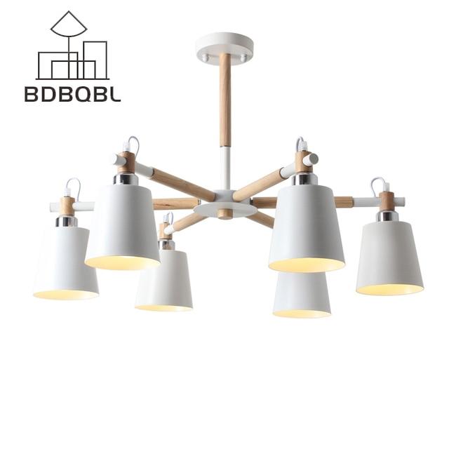 BDBQBL Modern Creative Simple 3/6/8 Heads Solid Wood LED Chandelier Lamp Ceiling Lighting Home Lighting Bedroom Dining Room