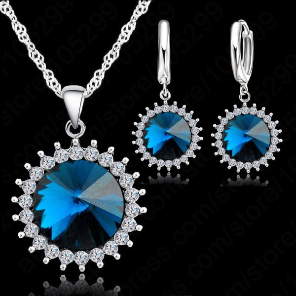 Hot Sale Spiral Crystal Necklace for Women Jewelry Set Pendant Necklace Fashion 925 Sterling Silver Necklace For Wedding