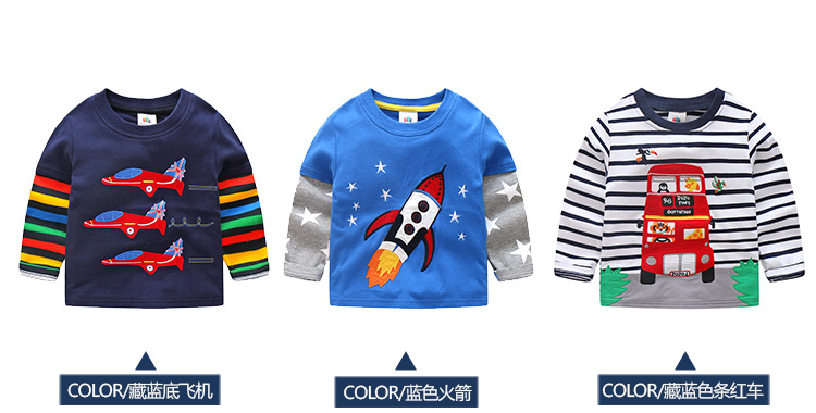 2018 Spring Autumn For 2-9 10 Years Children Cotton Striped Patchwork Cartoon Car Bus Truck Baby Kids Boys Long Sleeve T Shirts (15)