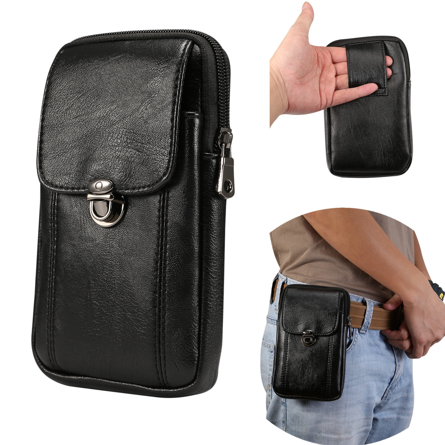 Genuine Leather Fanny Pack Men/'s Loop Skin Case Purse Belt Cell Phone Waist Bag
