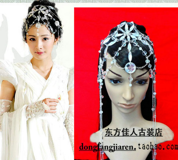 New Fairy Hair Piece Vintage COS Hair Jewelry Legend of Fairy Sword  Actress XiYao Hair Accessory Piece YangMi White Crystal