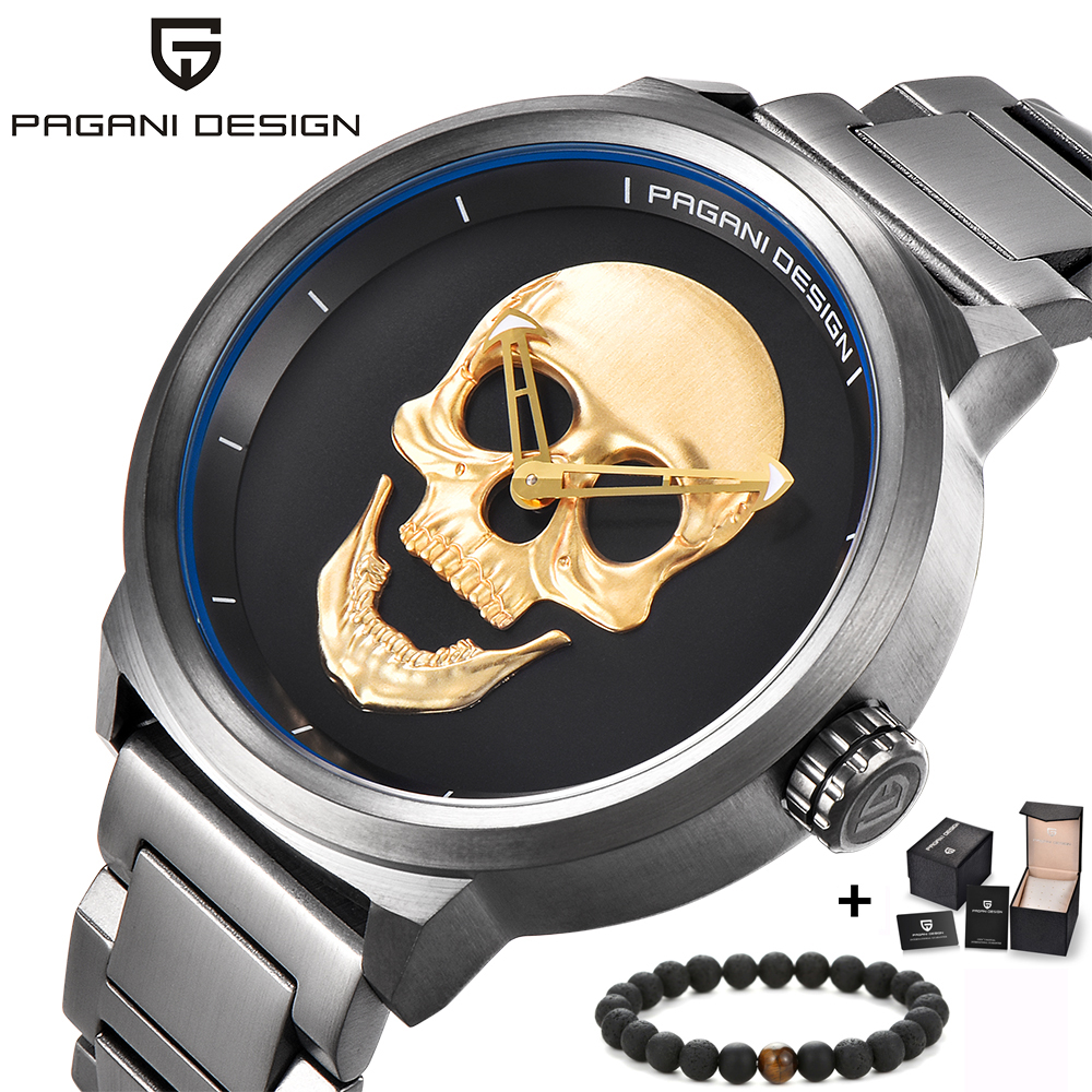 PAGANI Дизайн Элитный бренд Полный нержавеющей череп Bone Байкер Панк стильные спортивные кварцевые часы мужской Ретро наручные