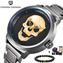 PAGANI Дизайн люксовый бренд полный из нержавеющей кости черепа Байкер Панк стильные спортивные кварцевые часы мужские часы в ретро-стиле часы мужские