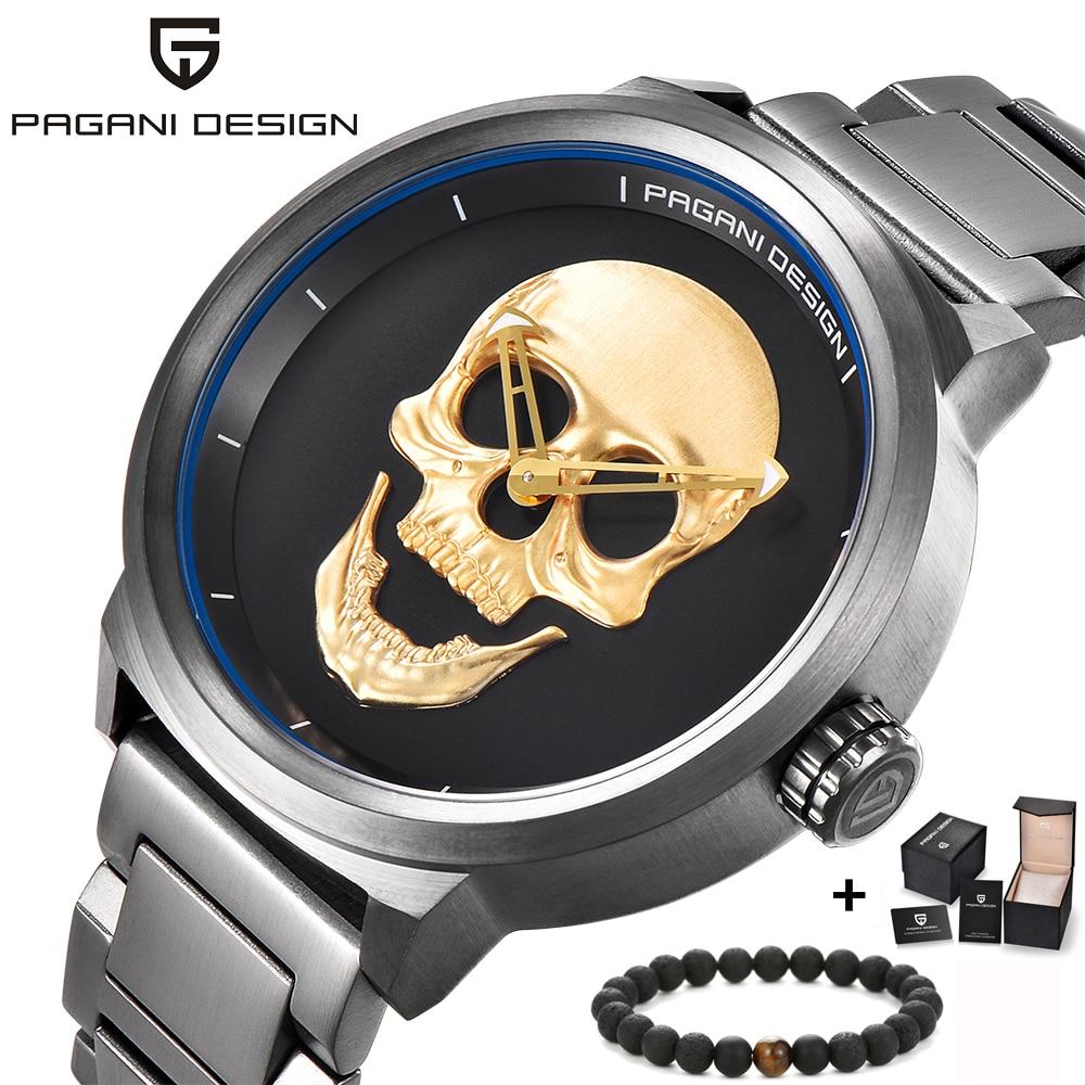 PAGANI design marque de luxe entièrement en acier inoxydable crâne os Biker Punk élégant sport montre à quartz mâle rétro montre-bracelet horloge hommes