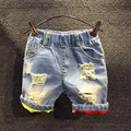 Горячая продажа 2017 детей летом шорты джинсовые Мальчики новый случайный цвет ripped отверстия джинсовый шорты брюки 2-7 лет!