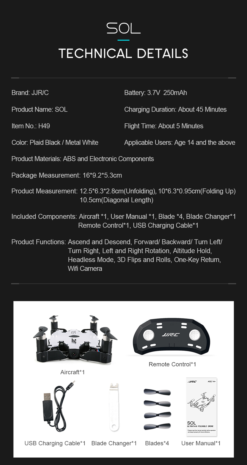 JJRC H49 H49WH SOL Mini Drone with Camera Selfie Drone 720P Wifi FPV Quadcopter RC Helicopter Altitude Hold VS H37 Mini JJRC H47