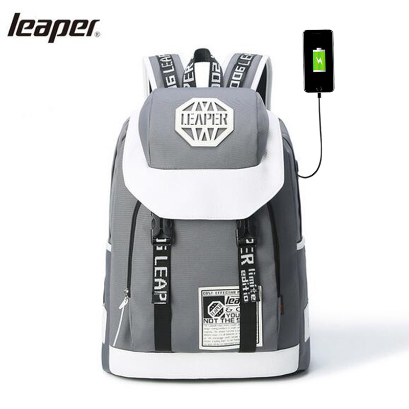 Leaper Men Backpack Letter Usb Charge High Capacity Designer Laptop Backpack Notebook School Bags For Teenagers Waterproof Bags