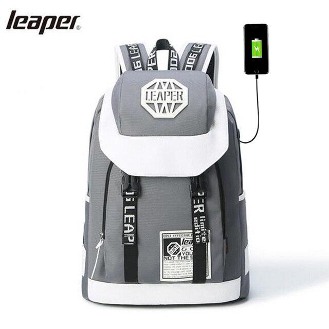 Leaper Men Backpack Letter USB Charge High Capacity Designer Laptop Backpack Notebook School Bags For Teenagers Waterproof Bags