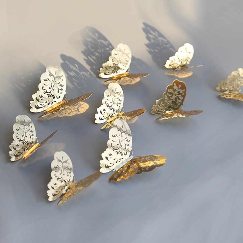 12 шт., полые 3D наклейки в виде бабочек на стену для домашнего декора, наклейки в виде бабочек на холодильник для творчества, украшение комнаты, декор для вечеринки и свадьбы