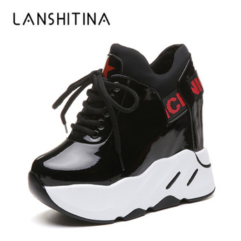 Autumn Woman Platform Shoes Wedge Heel 12 CM Casual Shoes Height Increasing White Black Sneakers Women Leather Shoes New 2020 tuinanle chunky sneakers high heel 10 cm women autumn thick bottom platform sneakers height increasing woman silver casual shoes