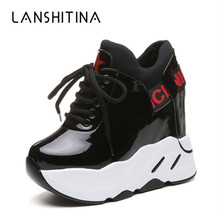 New 2019 Spring Woman Platform Shoes Wedge Heel 12 CM Casual Shoes Height Increasing White Black Sneakers Women Leather Shoes 2018 new women height increasing sneakers spring summer platform wedge heel brand lady walking shoes red black white