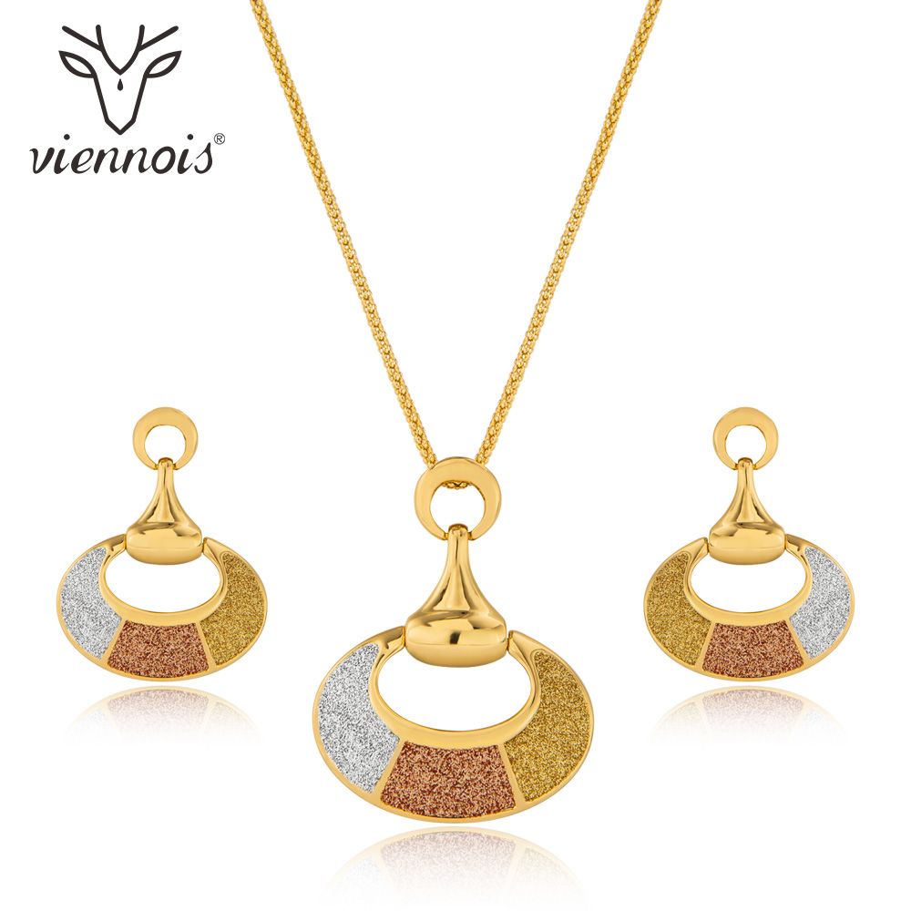Viennois Jewelry Sets for Women Fashion Mixed Color Geometric Necklace Earrings Set Party Jewelry viennois new blue crystal fashion rhinestone pendant earrings ring bracelet and long necklace sets for women jewelry sets