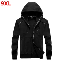 Big size 9XL 8XL men plus of mens hooded cardigan cotton zipper tide oversize students coat big yards jacket