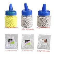 2*1000 rodadas tiro tático paintball bb bolas airsoft 0.12/0.2/0.25/0.3g plástico bb pellets strikeball 2 pacotes de greve bola