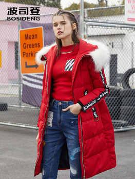 BOSIDENG women winter duck down jacket mid-long down coat natural fur collar X style slim thicken outwear waterproof B70142138VL - DISCOUNT ITEM  44% OFF All Category