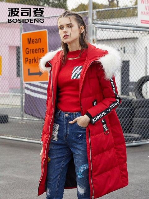 BOSIDENG женская зимняя куртка на утином пуху средней длины пуховое пальто воротник из натурального меха X стиль тонкая утолщенная верхняя одежда водостойкая B70142138VL