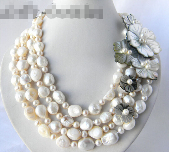 FREE shipping>>>>4Strands 18'' 13mm White Round Baroque Freshwater Pearl Shell Flower Necklace
