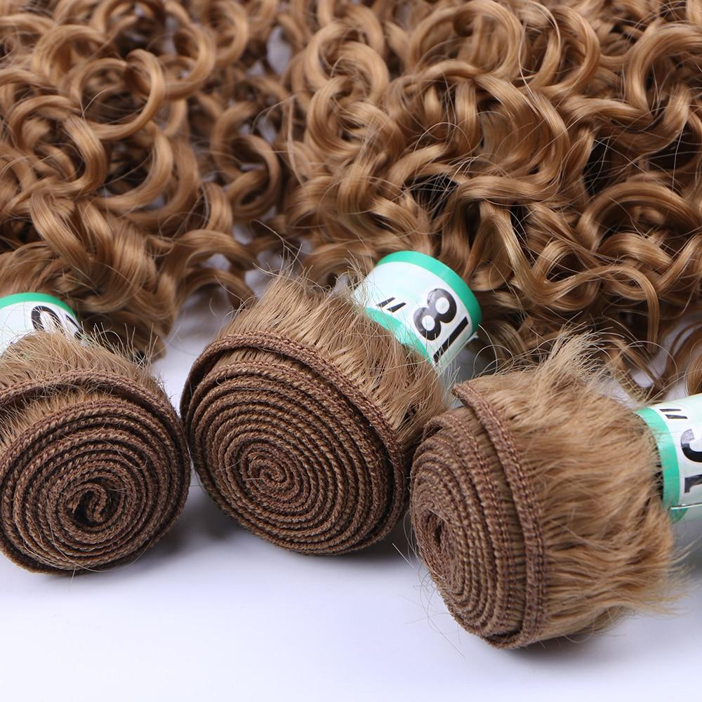 Feixes de Cabelo cor marrom da extensão do cabelo sintético
