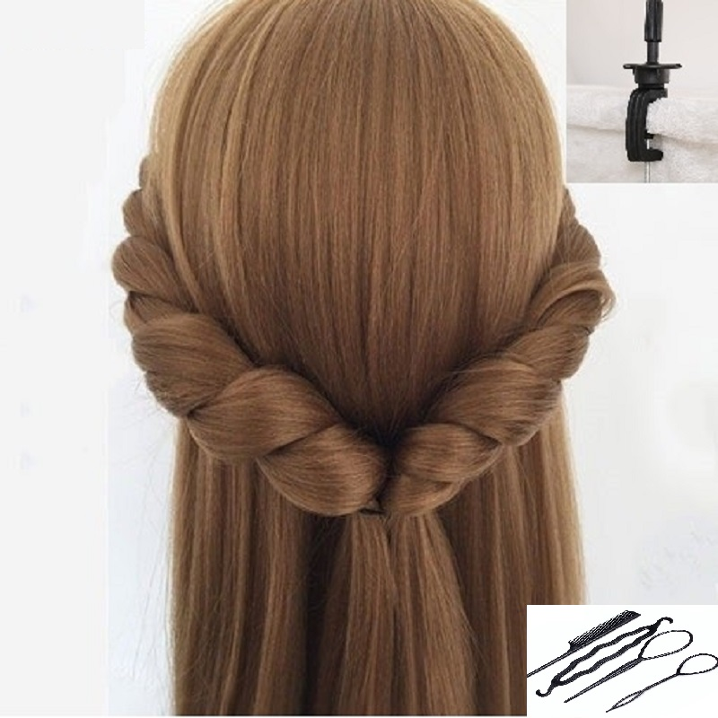 CAMMITEVER Blonde Hair Mannequin Heads Blonde Wig Head Hairdressing Model Hairstyle Training Head