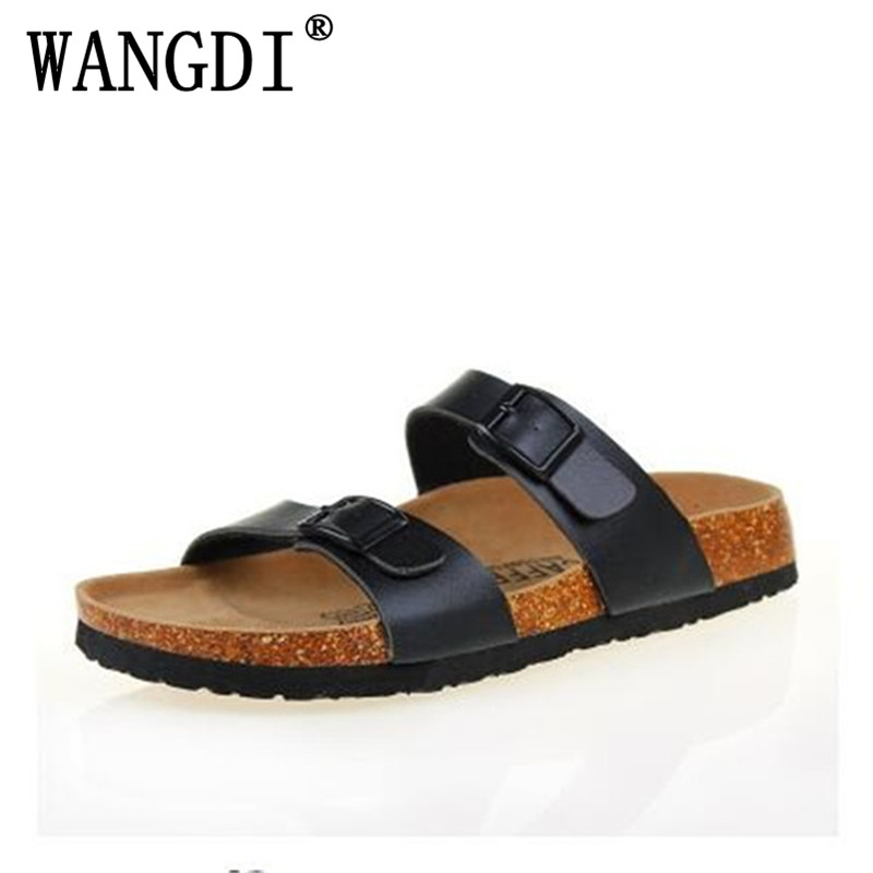 New 2018 Summer Men Sandals Cork Shoes Slippers Casual Outdoor Shoes Flats Buckle Fashion Beach Shoes Slides Plus Size 39-43