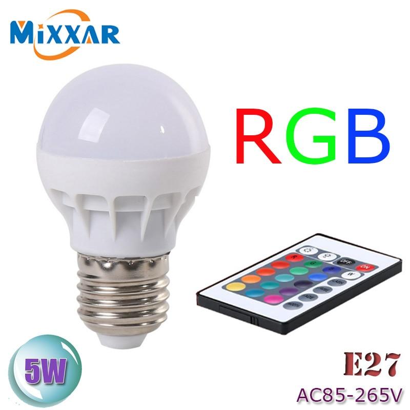 zk51 LED RGB Bulb Lamp AC85-265V E27 5W LED RGB Spot Blubs Stage Light Magic Holiday RGB lighting+IR Remote Control LED Bulb