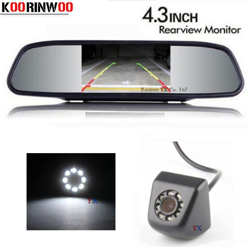 Koorinwoo High Resolution Vehicle 4.3 Monitor + CCD HD Car Rear view Camera BackUp Night vision 8 Led Cam Reversing for Car