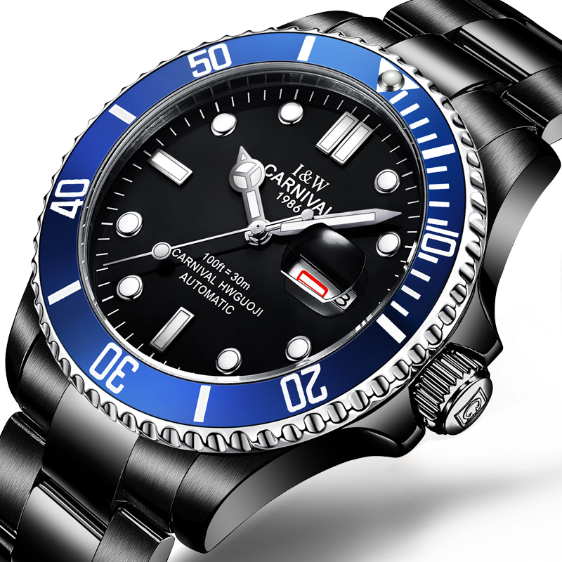 Brand Luxury CARNIVAL Watch Men GMT Automatic Mechanical Men Watches Luminous Sapphire Stainless Steel Diving Mens Watch C-87565Brand Luxury CARNIVAL Watch Men GMT Automatic Mechanical Men Watches Luminous Sapphire Stainless Steel Diving Mens Watch C-87565