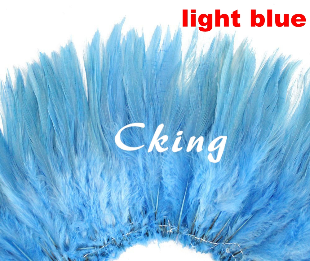 High Quality Bleached &Dyed Light Blue chicken feather Strungs Rooster Saddle Feathers rolls Wholesale Hair Extension 1kgs/lot