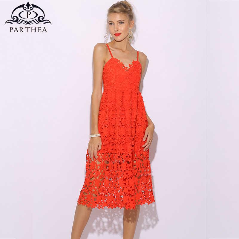 10e8e587d62 Parthea Floral Red Dress Midi Crochet Lace Summer Dress Women Elegant Party  Dress Sexy Club Dresses