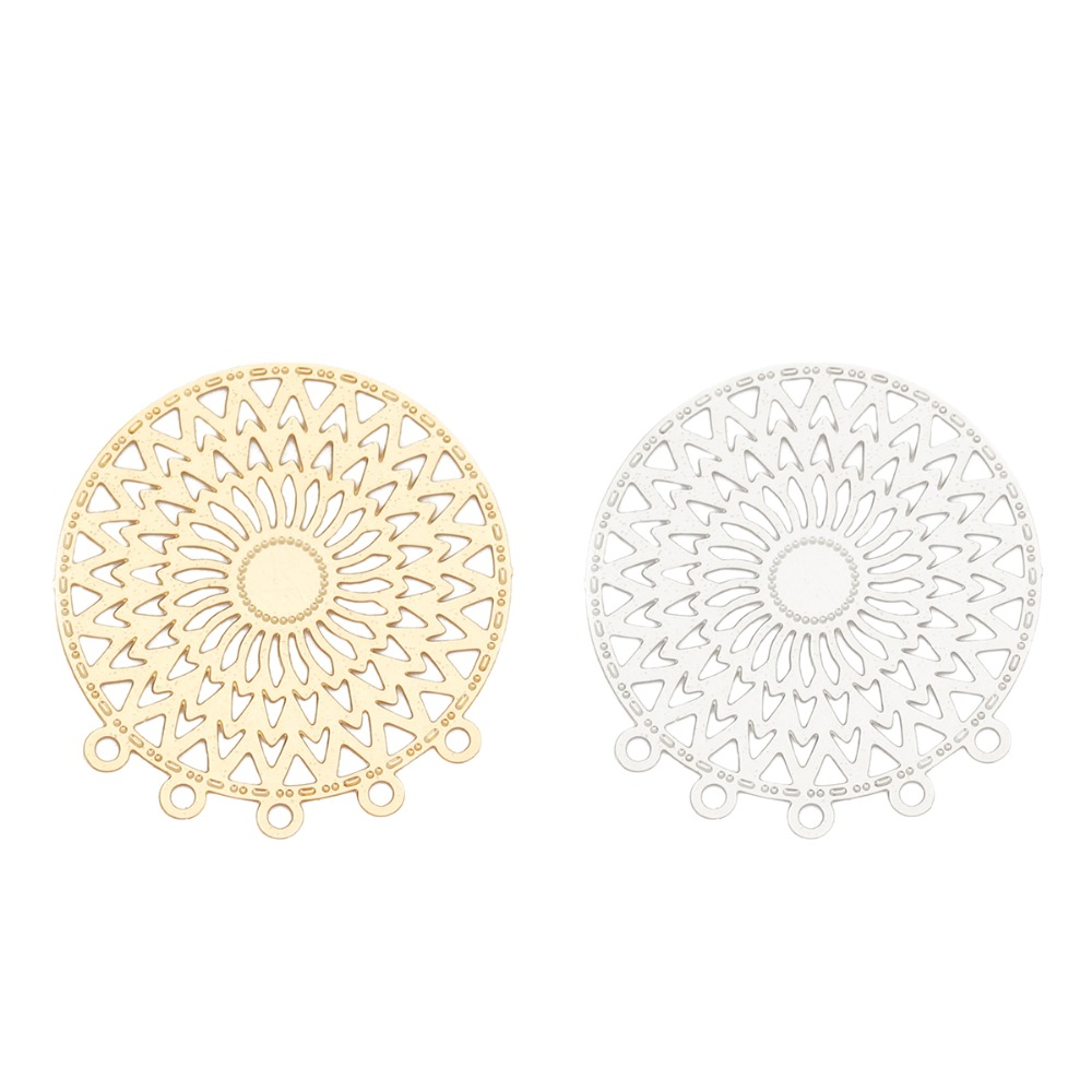 DoreenBeads Fashion Iron Based Alloy Filigree Stamping Connectors Round Silver Tone Gold Jewelry DIY Charms 26mm X 24mm, 10 PCs