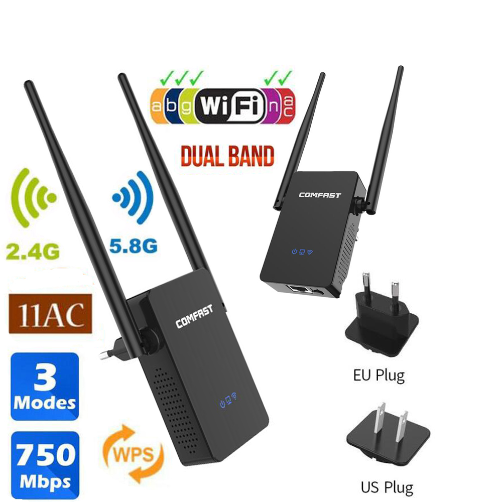 Wifi Extender Dual-Band Wireless Repeater 750mbps Antennas Repeater-Through-Wall WR750AC