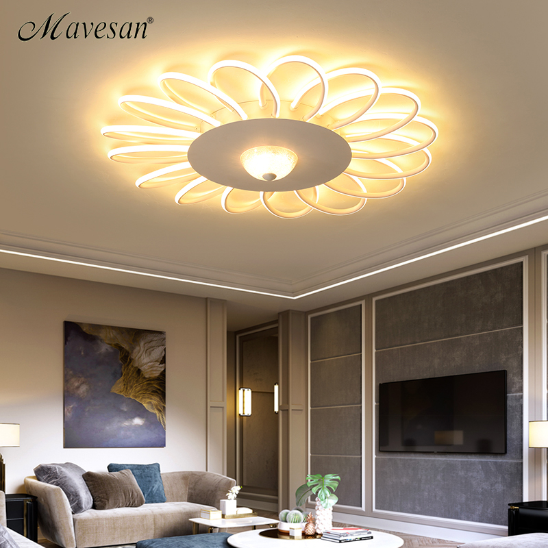 New Creative White Modern LED Ceiling Lights For Living Room Bedroom Ceiling Mounting Lamps Indoor Lighting Fixtures AC85-260V led white ceiling lighting indoor bedroom ceiling lamps fixtures home modern american country style living room ceiling lights