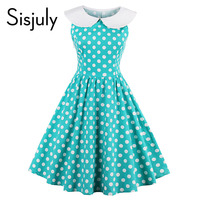 Sisjuly women vintage dress pin up polka dots cute knee-length sleeveless a-line party dress summer vintage 2017 new dresses