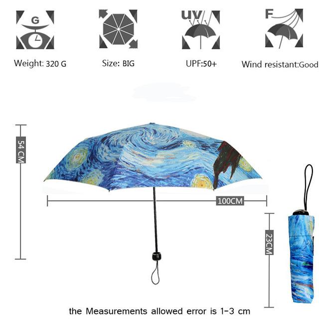Yesello Vincent van Gogh Oil Painting Starry Night Three Folding Umbrella 8 Rib Wind Resistant Frame For Women