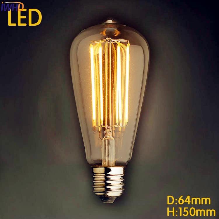 IWHD LED Bombilla Retro Lamp Edison bulb E27 St64 Vintage Light Lampada Edison 2W 4W 6W 8W Ampoules Decoratives