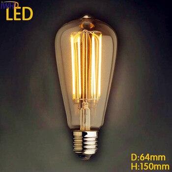 IWHD-Bombilla LED Retro Para lámpara, lámpara de luz Vintage Edison E27 St64,...