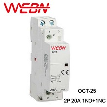 OCT Series AC Household Contactor 230V 50/60Hz 2P 20A 1NO+1NC One Normal Open and Close Contact Din Rail
