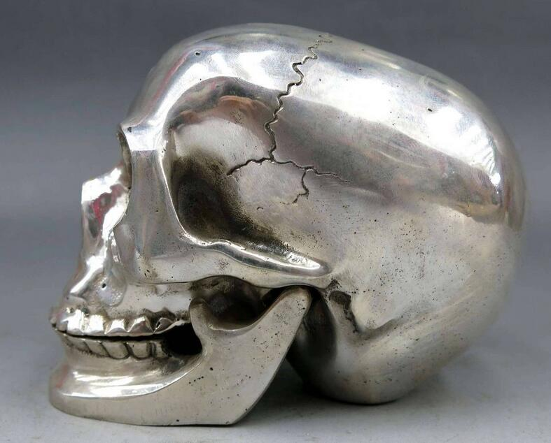 China Silver Fine Carved Skull Head Human Skeleton Statue Sculpture