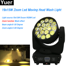 19x15W RGBW 4in 1 Light Moving Head high power led lamp Wash/Zoom 16 DMX512 Channels Professional Stage Dj Disco Lighting