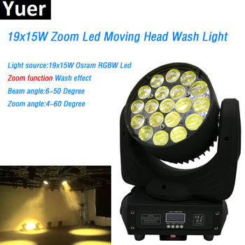 19x15W RGBW 4in 1 Light Moving Head Light high power led lamp Wash/Zoom 16 DMX512 Channels Professional Stage Dj Disco Lighting 10pcs lot cheap stage light 36 15w 5 in 1 led zoom moving head wash light rgbwy color mixing dmx512 lighting control
