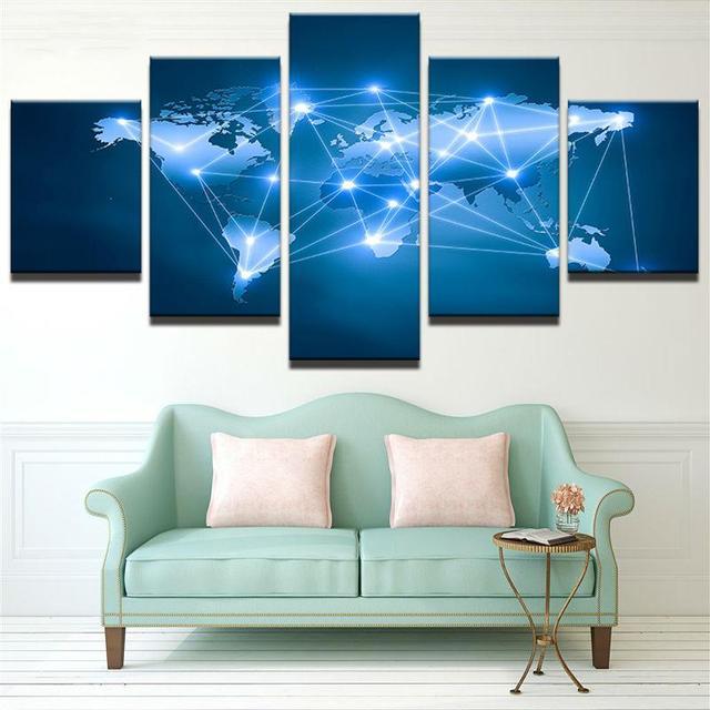 5 panel framed hd printed constellation world map wall art picture 5 panel framed hd printed constellation world map wall art picture modern home decor living room gumiabroncs Images