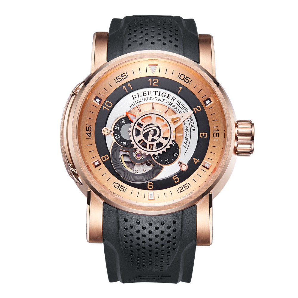 Reef Tiger/RT Top Brand Luxury Sport Watches for Men Mechanical Watch Waterproof Automatic Watches relogio masculino RGA30S7 機械 式 腕時計 スケルトン