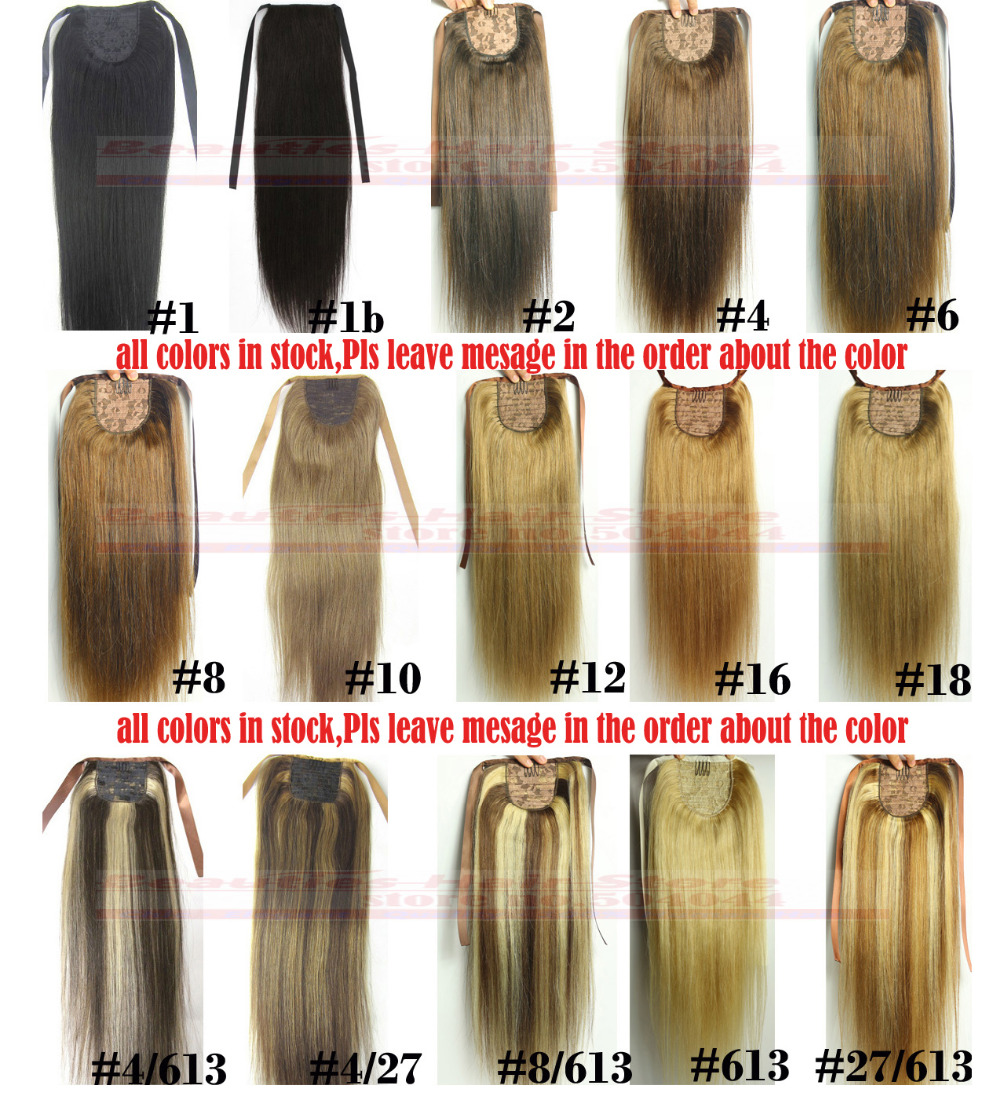 "16""18""20""22""24""26""28"" 100% Brazilian Remy hair Clips In/on Human Hair Extensions Horsetail Ponytail #22 colors available 100g"