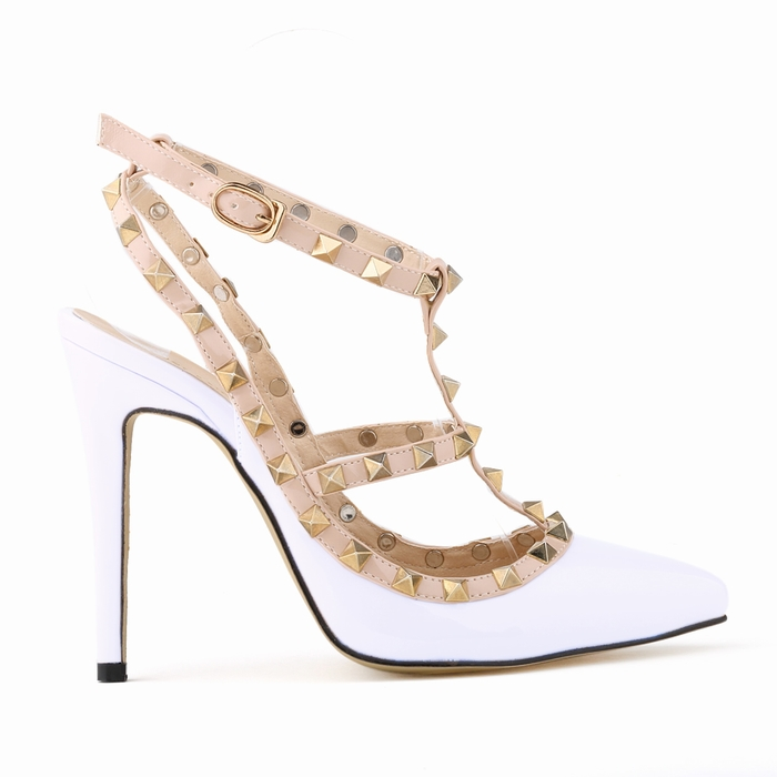 016 Summer Fashion Women Sandals Famous Brand Style Thin High Heels Sandals For Women Rivets Shoes Woman Pumps SMYNLK-EA0008