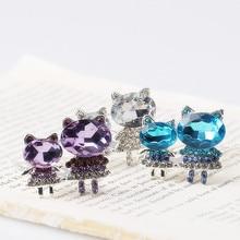 M MISM Girls Cute Small Cat Hair Combs Full Crystal Cartoon Hairpins Children Women Wedding Hair