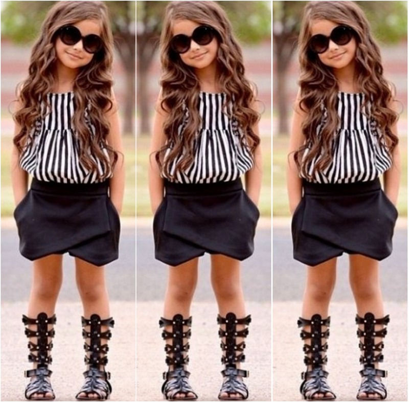 Little Kids Girl Clothes Outfit Set Hem Blouse Tee Shirt Dress Stripes Pants Outfit Set 2PCS Clothes Set