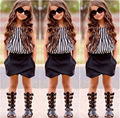 2016 NEW Hot-selling 2pcs Baby Kids Girls Summer Clothes Sleeveless Striped Tops Blouse+Asymmetric Shorts Outfits set 2~7Y