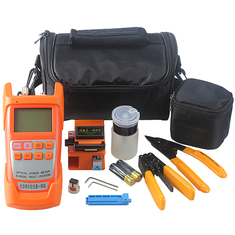 Fiber Optic FTTH Tool Kit with Fiber Cleaver , All in Optical Power Meter Visual Fault Locator 1mw ,Wire stripperFiber Optic FTTH Tool Kit with Fiber Cleaver , All in Optical Power Meter Visual Fault Locator 1mw ,Wire stripper